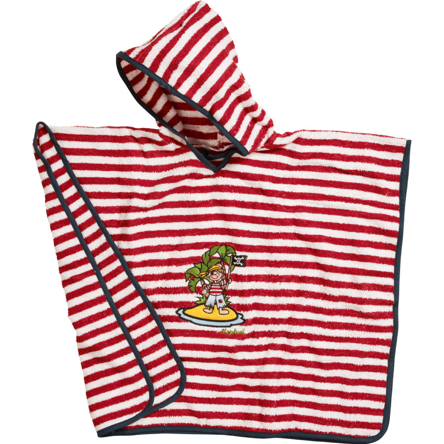 Image of Playshoes Boys Frotte-Poncho Pirateninsel rot/weiß