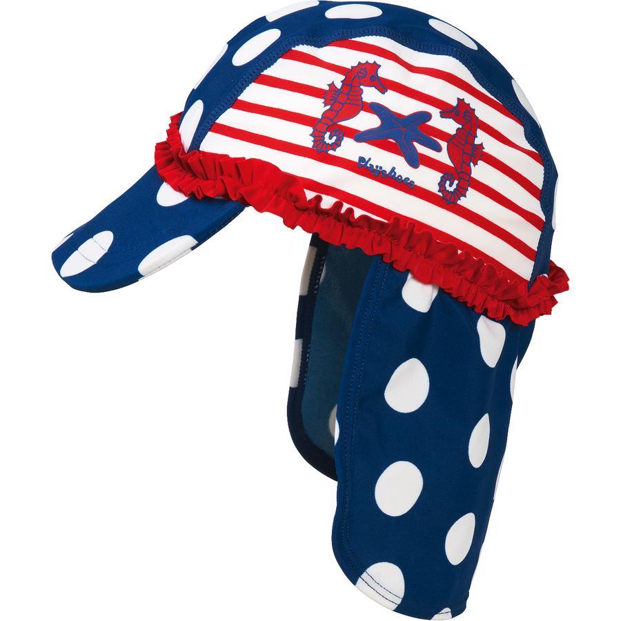 Playshoes Girls UV Schutz Mütze Seepferdchen blau weiß
