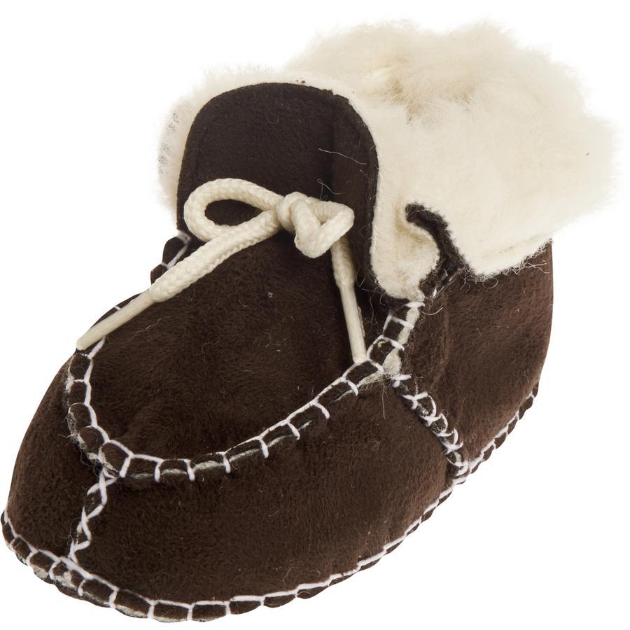 PLAYSHOES Unisex Baby Schuh in Lammfelloptik dunkelbraun