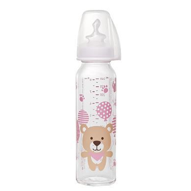 nip Kojenecká láhev s dudlíkem růžová velikost 1 250 ml dívka pro sklenici medvídek / silikon