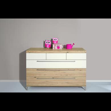 Schränke, Kommoden und Regale - PAIDI Kommode Remo breit 1 Schublade kreideweiß 2 Schubladen Bordeaux Eiche  - Onlineshop Babymarkt