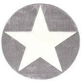 LIVONE Spiel  Und Kinderteppich Happy Rugs Star Silbergrau 133 Cm Rund