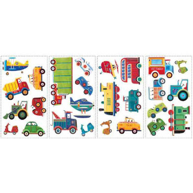 Wanddekoration - RoomMates® Wandsticker Fahrzeuge bunt  - Onlineshop Babymarkt