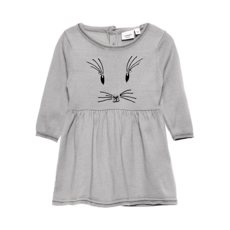 name it Girls Strickkleid Baxi grey melange