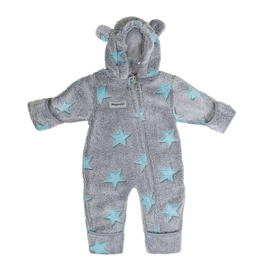 Hoppediz Fleece-Overall grau-blau mit Sternen