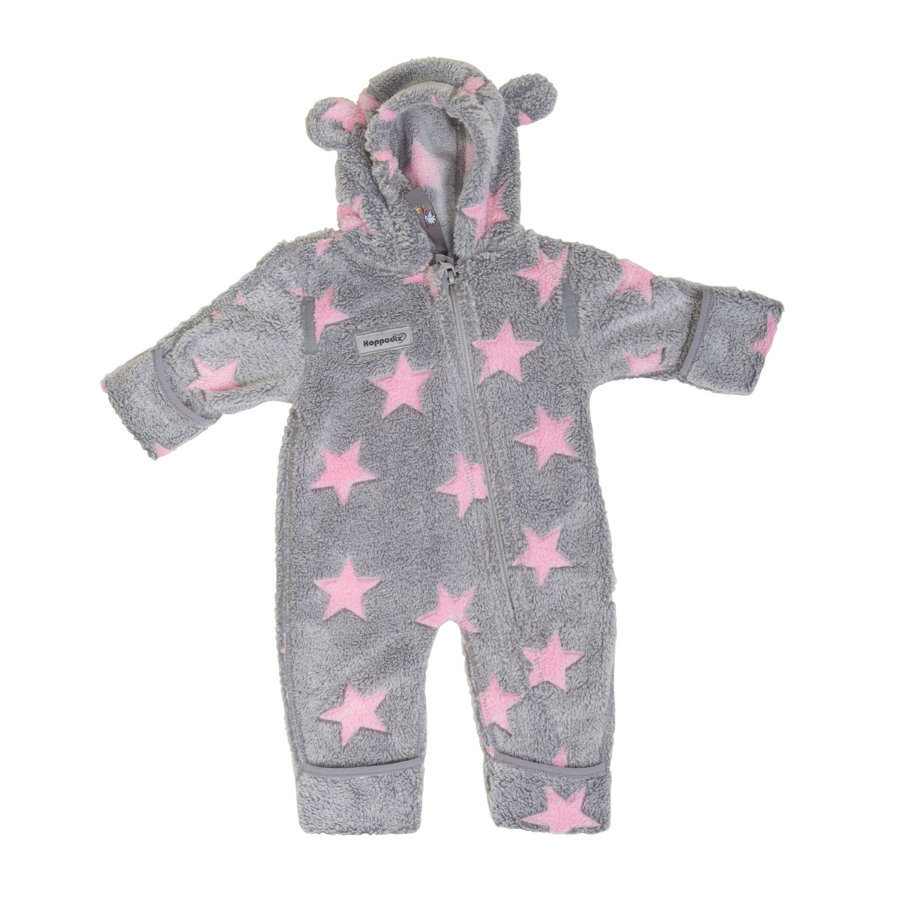Hoppediz Fleece-Overall grau-pink mit Sternen
