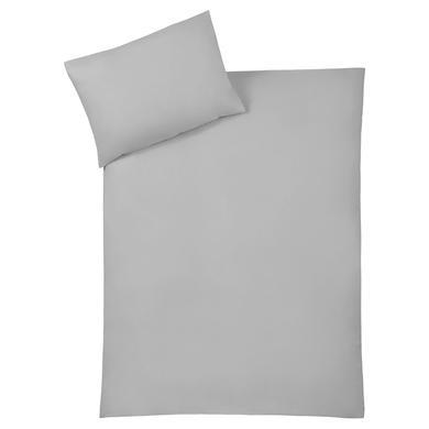 Kindertextilien - JULIUS ZÖLLNER Bettwäsche uni silver 100 x 135 cm  - Onlineshop Babymarkt