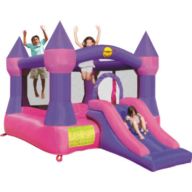 happyhop Bouncy Castle - hrad purple se skluzavkou