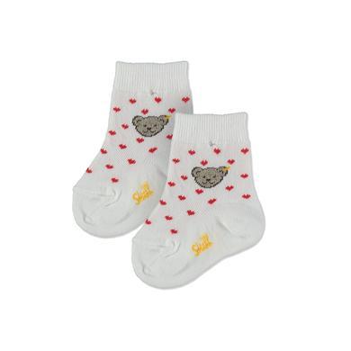 Steiff Girls Socken Heart weiß-rose - Gr.74/80 - Mädchen