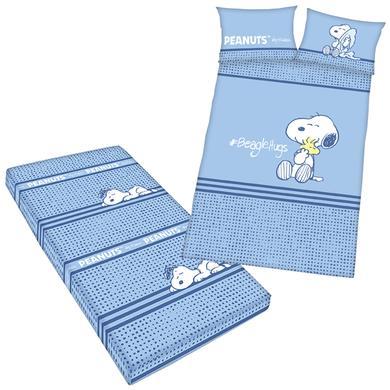 Kindertextilien - Herding Bettwäsche Peanuts inkl. Spannbetttuch 100 x 135 cm blau  - Onlineshop Babymarkt