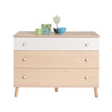 Schränke, Kommoden und Regale - PAIDI Kommode Ylvie breit 1 Schublade weiß 2 Schubladen Birke  - Onlineshop Babymarkt