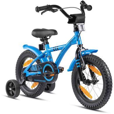 Kinderfahrrad - PROMETHEUS BICYCLES® HAWK Kinderfahrrad 14 , Blau Schwarz mit Stützrädern - Onlineshop