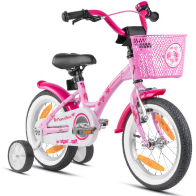 Kinderfahrrad - PROMETHEUS BICYCLES® HAWK Kinderfahrrad 14 , Rosa Weiß mit Stützrädern - Onlineshop