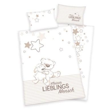 Kindertextilien - Herding Bettwäsche Kleiner Lieblingsmensch 100 x 135 cm beige  - Onlineshop Babymarkt