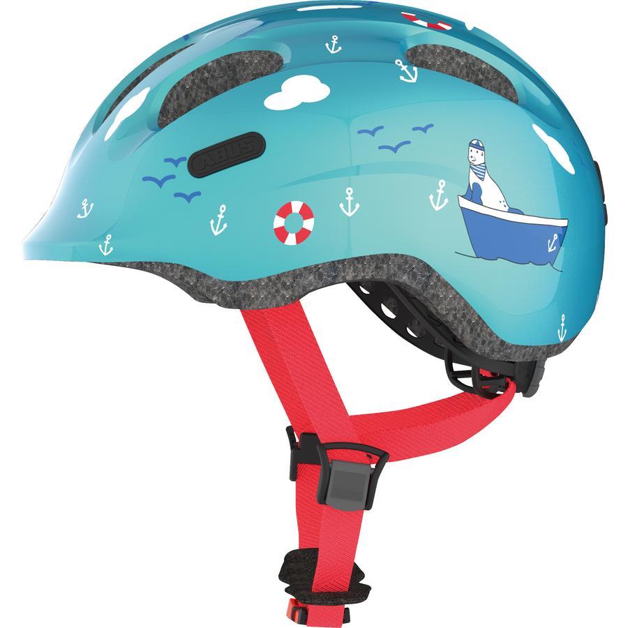 ABUS Kinderhelm Bundle Smiley 2.0 turquoise sailor M Regenkappe boy