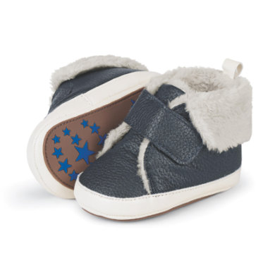 Sterntaler Boys Baby–Schuh Lederimitat Teddyflausch marine – blau – Gr.21 22 – Jungen
