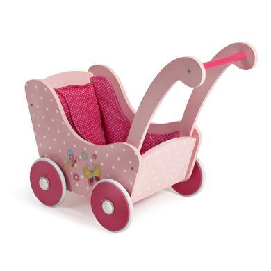 Bayer Chic dřevěný kočárek s motýlky - růžová/pink
