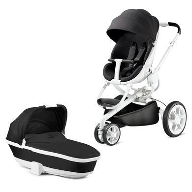 Quinny  Kinderwagen Moodd Black Irony - Gestell weiß mit Kinderwagenaufsatz - grau