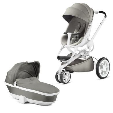 Quinny  Kinderwagen Moodd Grey gravel - Gestell weiß mit Kinderwagenaufsatz - grau