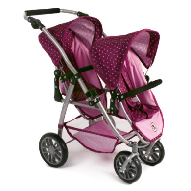 CHIC 2000 Buggy Tandem VARIO Kočárek pro panenky (dvojčata) - Dots Brombeere 29 - růžová/pink