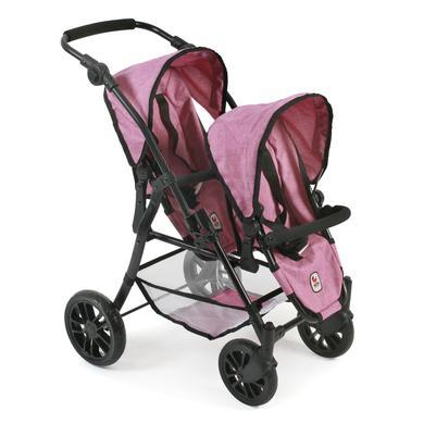 CHIC 2000 Kočárek pro panenky (dvojčata) BUGGY TANDEM TWINNY – Jeans Pink - růžová/pink