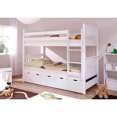 Kinderbetten - TiCAA Etagenbett Sammy weiß mit 5 Schubladen  - Onlineshop Babymarkt
