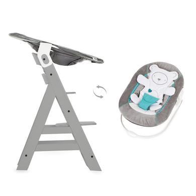 Hochstühle - hauck Hochstuhl Alpha Plus Grey inklusive Bouncer Hearts Grey  - Onlineshop Babymarkt