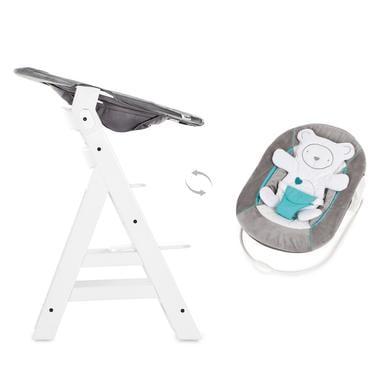 Hochstühle - hauck Hochstuhl Alpha Plus White inklusive Bouncer Hearts Grey  - Onlineshop Babymarkt