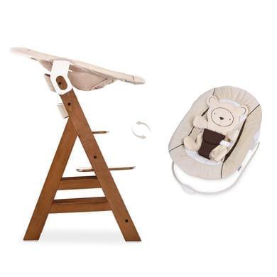 Hochstühle - hauck Hochstuhl Alpha Plus Walnut inklusive Bouncer Hearts Beige  - Onlineshop Babymarkt