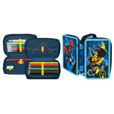 Scooli Doppeldecker Schüleretui, gefüllt Transformers blau