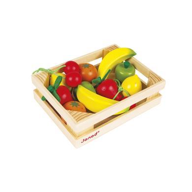 Janod ® Dřevěné ovoce v bedýnce 12ks - pestrobarevná