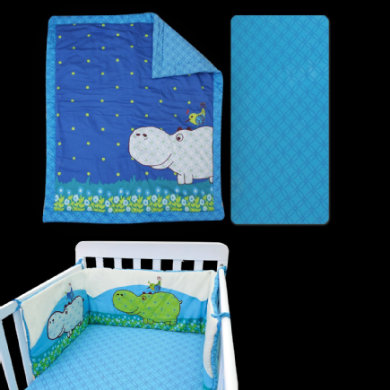 toTs by smarTrike bed set Joy Hippo modrá