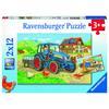 Ravensburger Puzzle 2x12 sztuk - plac budowy i gospodarstwo rolne