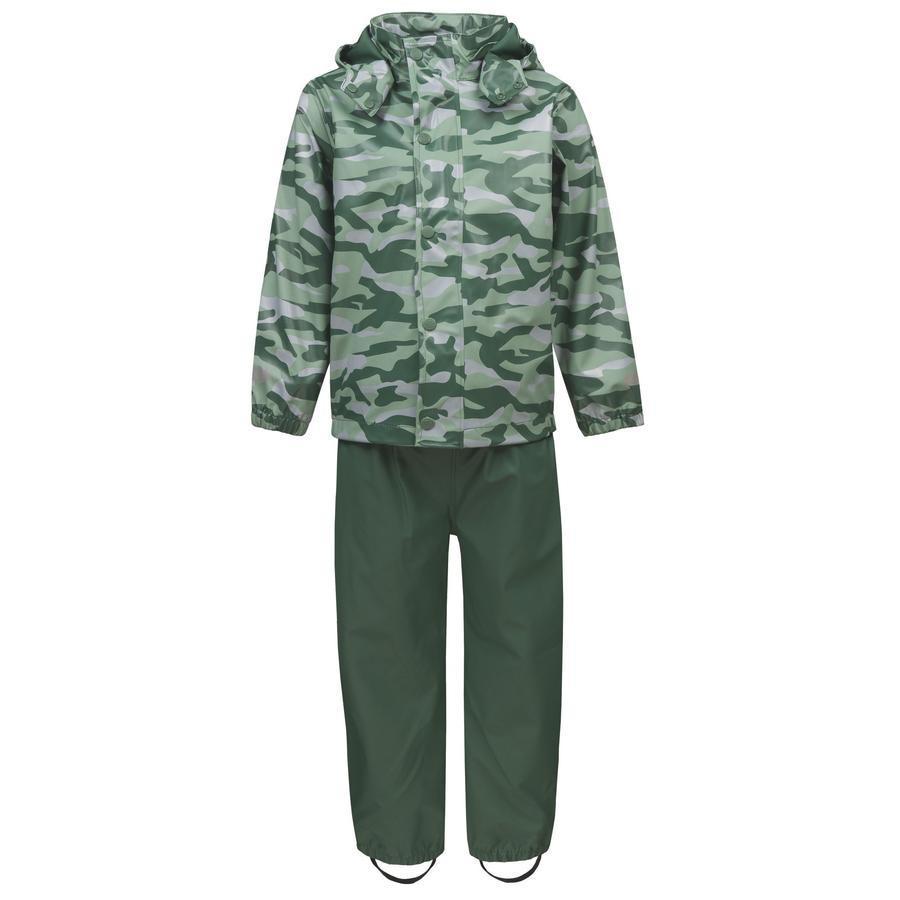 TICKET TO HEAVEN Regenanzug Gummi 2 tlg., mit abnehmbarer Kapuze, grün camouflage