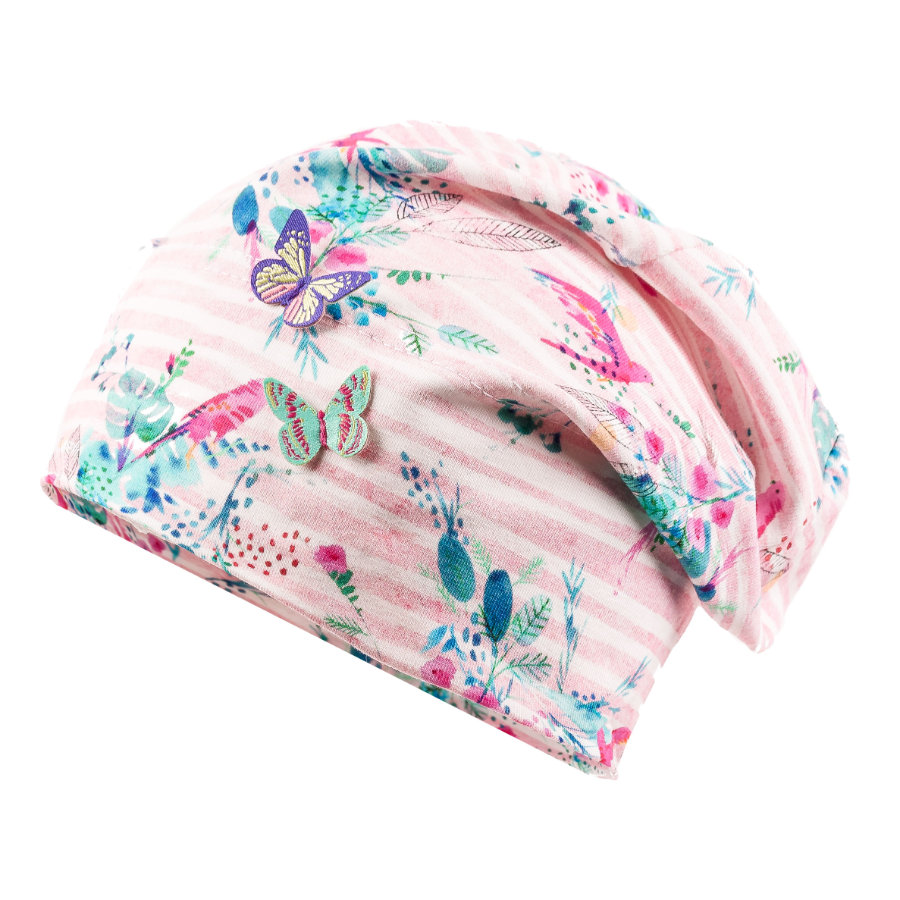 maximo Girls Beanie Papagei wollweiss pink
