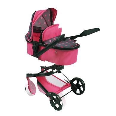 BAYER CHIC 2000 Kombi kočárek pro panenky MIKA Hvězdičky pink