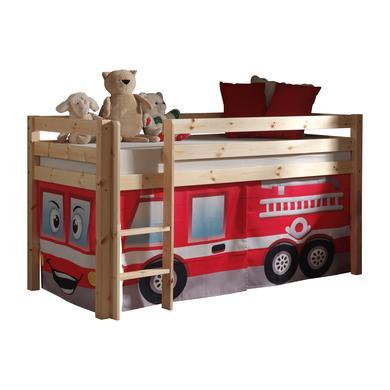 Kinderbetten - VIPACK Spielbett Pino natur Vorhang Feuerwehr Gr.90x200 cm  - Onlineshop Babymarkt