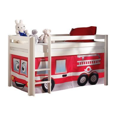 Kinderbetten - VIPACK Spielbett Pino weiß Vorhang Feuerwehr Gr.90x200 cm  - Onlineshop Babymarkt