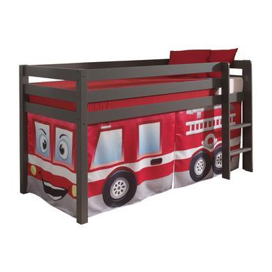 Kinderbetten - VIPACK Spielbett Pino taupe Vorhang Feuerwehr grau Gr.90x200 cm  - Onlineshop Babymarkt