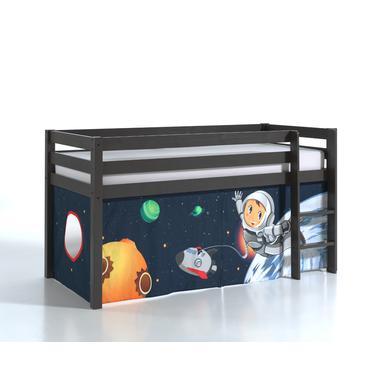 Kinderbetten - VIPACK Spielbett Pino taupe Vorhang Spaceman grau Gr.90x200 cm  - Onlineshop Babymarkt