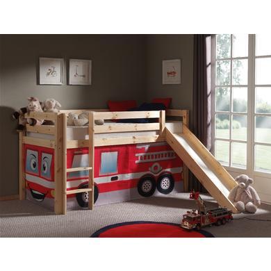 Kinderbetten - VIPACK Spielbett mit Rutsche Pino natur Vorhang Feuerwehr Gr.90x200 cm  - Onlineshop Babymarkt