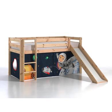 Kinderbetten - VIPACK Spielbett mit Rutsche Pino natur Vorhang Spaceman Gr.90x200 cm  - Onlineshop Babymarkt