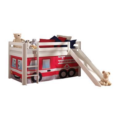 Kinderbetten - VIPACK Spielbett mit Rutsche Pino weiß Vorhang Feuerwehr Gr.90x200 cm  - Onlineshop Babymarkt