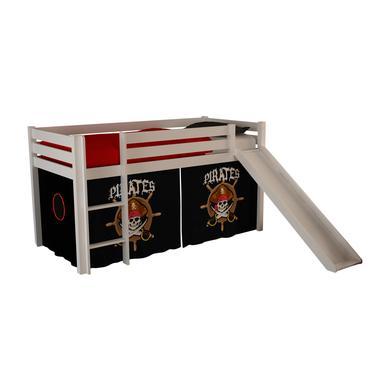 Kinderbetten - VIPACK Spielbett mit Rutsche Pino weiß Vorhang Pirates Gr.90x200 cm  - Onlineshop Babymarkt