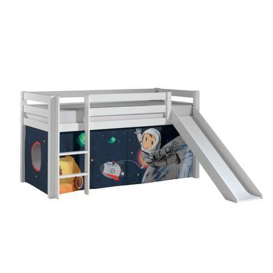 Kinderbetten - VIPACK Spielbett mit Rutsche Pino weiß Vorhang Spaceman Gr.90x200 cm  - Onlineshop Babymarkt