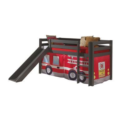Kinderbetten - VIPACK Spielbett mit Rutsche Pino taupe Vorhang Feuerwehr grau Gr.90x200 cm  - Onlineshop Babymarkt