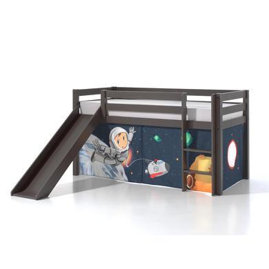 Kinderbetten - VIPACK Spielbett mit Rutsche Pino taupe Vorhang Spaceman grau Gr.90x200 cm  - Onlineshop Babymarkt