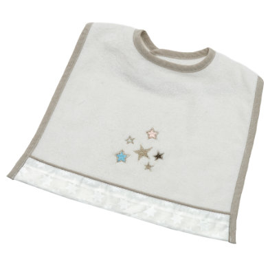 Be Bes Collection Velcro Bib Glitter Stars ecru