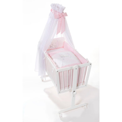 Stubenwagen und Wiegen - easy baby Komplettwiege mit Rollen Bear pink stars weiß Gr.90x45 cm  - Onlineshop Babymarkt