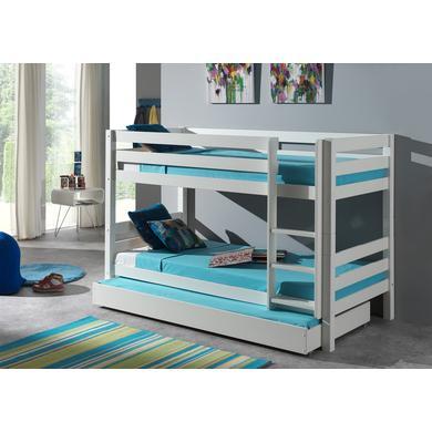 Kinderbetten - VIPACK Etagen Hochbett mit Bettschublade Pino weiß 140 cm Gr.90x200 cm  - Onlineshop Babymarkt